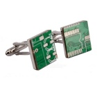 Jewelry Brass Material Circuit Board Shape Cufflinks - Silver + Green (Pair)