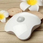 Four Leaf Clover Style Rechargeable 6-LED White Light Human Body Sensor Light Control Night Lamp