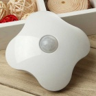 Four Leaf Clover Style Rechargeable 6-LED Yellow Light Human Body Sensor Light Control Night Lamp