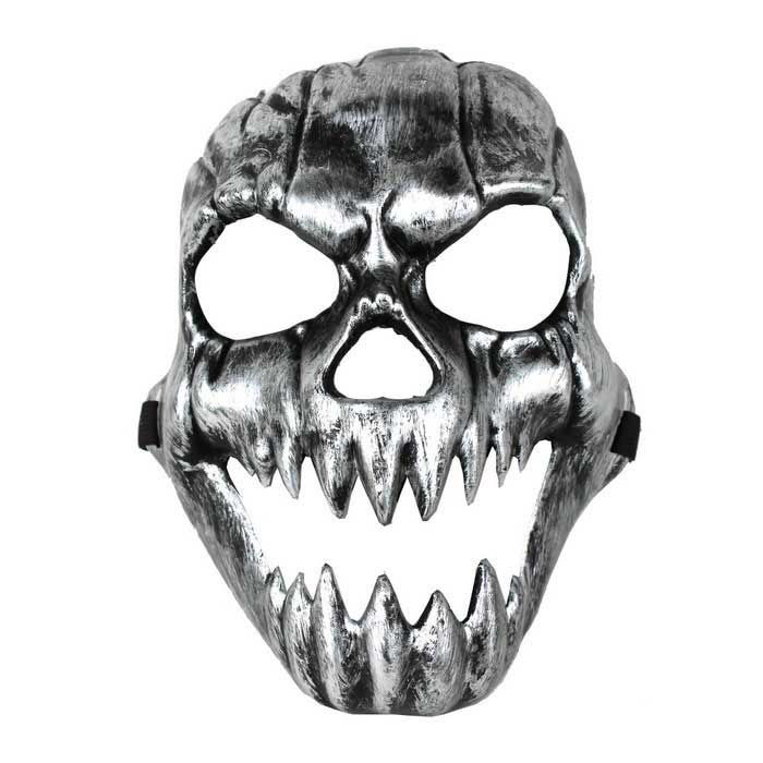 Terror Grimace Canine Skull Mask - Silvery BlackFace Masks<br>Form ColorBlack + SilverMaterialPlasticQuantity1 DX.PCM.Model.AttributeModel.UnitShade Of ColorBlackGenderUnisexSuitable forAdultsTotal Length18 DX.PCM.Model.AttributeModel.UnitTotal Width9 DX.PCM.Model.AttributeModel.UnitPacking List1 x Mask<br>