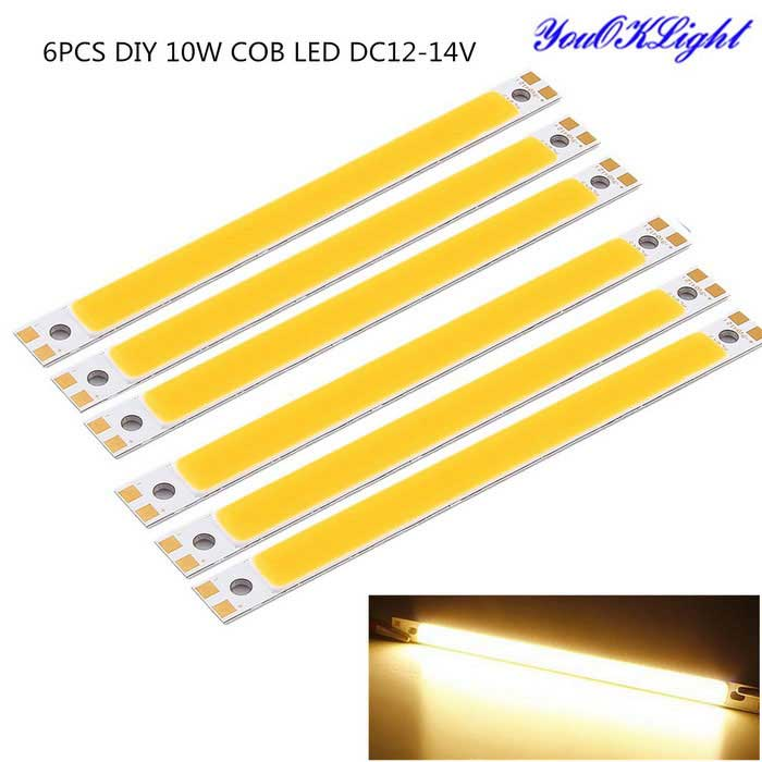 YouOKLight DIY 10W COB LED Light Bar Warm White 3000K 900lm - Silver + Yellow (DC 12~14V / 6PCS)