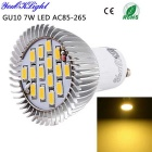 YouOKLight GU10 7W LED Spotlight bulbo Warm White 3000K 700lm 15 SMD 5630 - Silver (AC 85 ~ 265V)