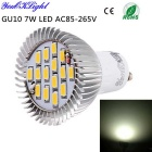 YouOKLight GU10 7W LED Spotlight Bulb White 6000K 700lm 15-SMD 5630 - Silver + Yellow (AC 85~265V)