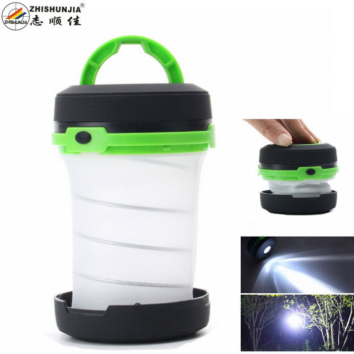 ZHISHUNJIA 1-LED 500lm 3-Mode Cold White Folding Outdoor Lantern Camping Light - Green (3*AA)
