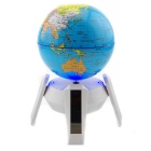 Solar Rotary Globe w/ Blue LED Light - White (1*AA)