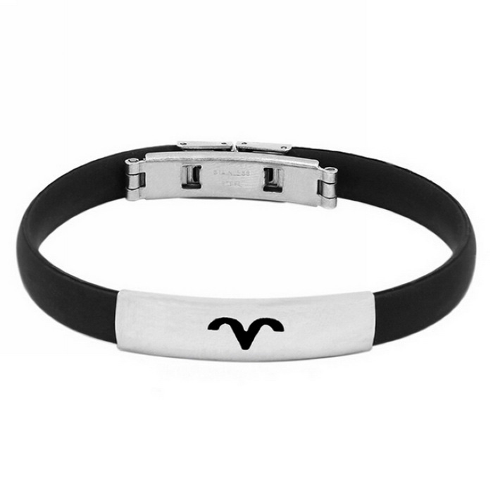 12 Zodiac Aries Titanium Steel Stress Relief Magnetic Bracelet Bangle - Black