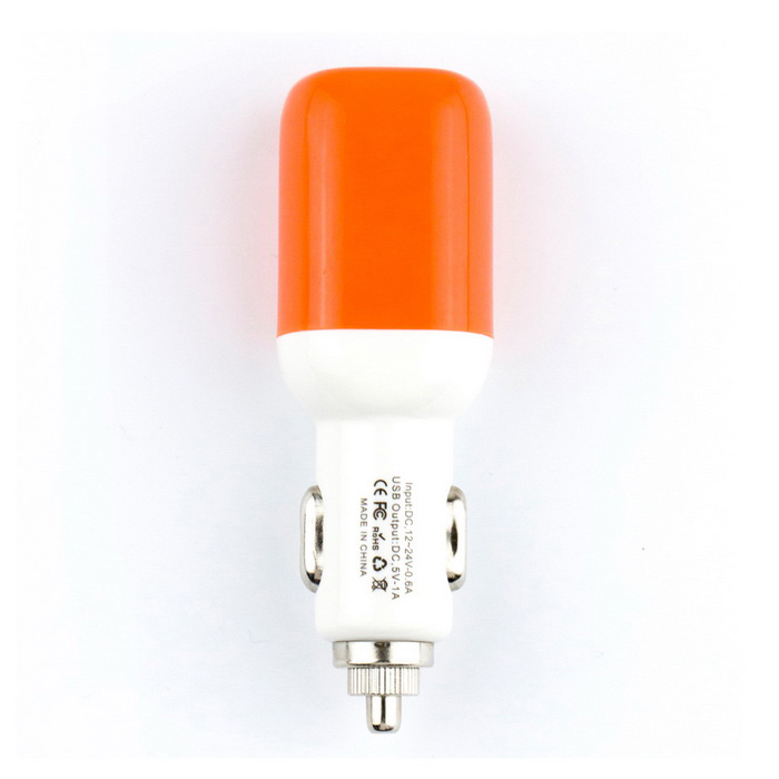 Car Cigarette Powered USB Adapter / Charger - White + Orange (DC 12V/24V)