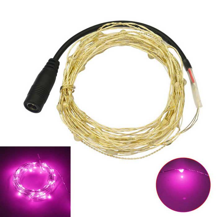 JIAWEN 5M Waterproof Flexible 3W 240lm Pink Light 50-SMD LED String Light - Silver (DC 12V)LED String<br>Form  ColorSilverColor BINPinkMaterialCopper wire + plasticQuantity1 DX.PCM.Model.AttributeModel.UnitPower3WRated VoltageDC 12 DX.PCM.Model.AttributeModel.UnitEmitter TypeOthers,0603 SMDTotal Emitters50Wavelength360-380nm(Pink)Theoretical Lumens240 DX.PCM.Model.AttributeModel.UnitActual Lumens240 DX.PCM.Model.AttributeModel.UnitPower AdapterOthers,Cable connectingPacking List1 x LED string light<br>