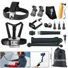 3-Fold Selfie Monopod Headband + Chest Strap for GoPro Hero Series, SJ4000 + More - Black