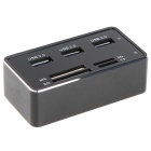 MOCREO Super High Speed 3-Port USB 3.0 Hub & MS / SD / M2 / TF Card Reader - Black