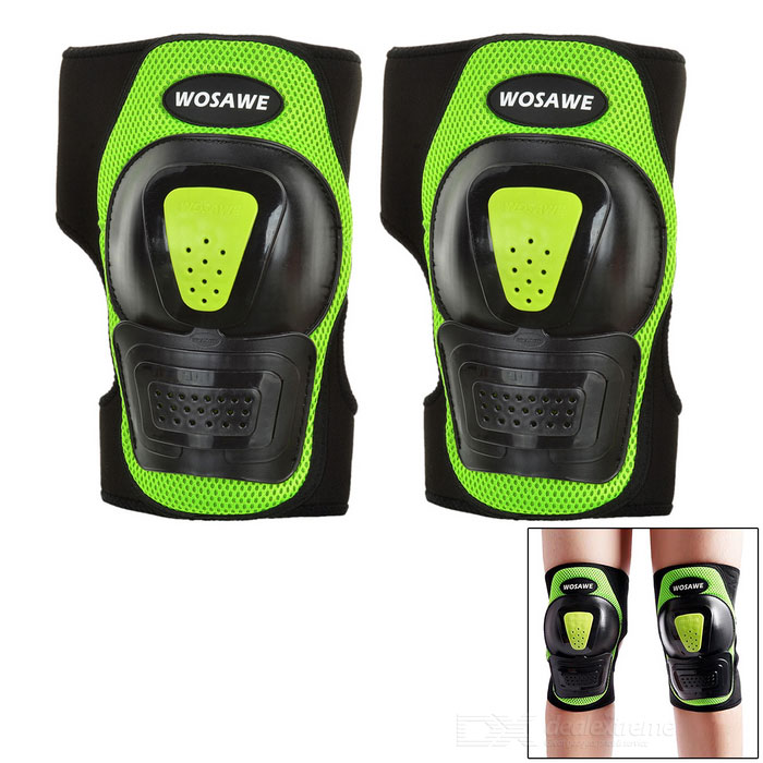 WOSAWE BC315 Roller Skating Sports Knee Protector Guard Support Kneecap - Black + Green (Pair)
