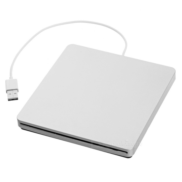 Super Slim USB Superdrive Enclosure SATA Ekstern Slot Loading DVD-brenner sak Caddy - Sølv