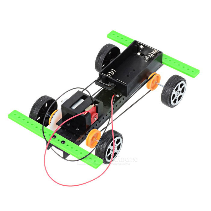 DIY Educational Assembled Four-Wheel Drive Car Toy - Green + Black (2*AA)