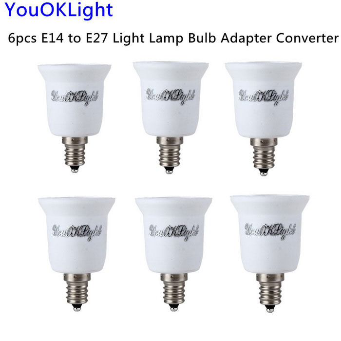 YouOKLight E14 para E27 Light Lamp Bulb Adapter Converter - Branco (6PCS)