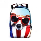 Unisex Animal Dog Pattern Shoulders Bag Backpack - Blue + Red + Multi-Colored (22L)
