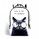 Unisex Animal Cat Pattern Shoulders Bag Backpack - White + Black (22L)