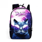 Unisex Animal Cat Pattern Shoulders Bag Backpack - Black + Purple + Multi-Colored (22L)