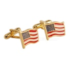 Jewelry Brass Material Waving Flags Shape Cufflinks - Golden + Red (Pair)