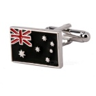 Jewelry Brass Material Flags Shape Cufflinks - Silver + Multicolored (Pair)