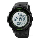 SKMEI 1127 50m Waterproof Outdoor Sports Watch - Black + Green (1*CR2025)