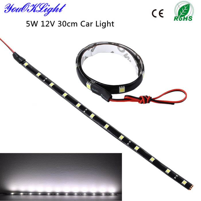 YouOKLight 12V 5W LED Waterproof Car DRL Light Strip Cold White