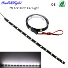 YouOKLight 12V 5W LED Waterproof Car DRL Light Strip White 6000K 400lm 12-SMD 5050 - Black (30cm)