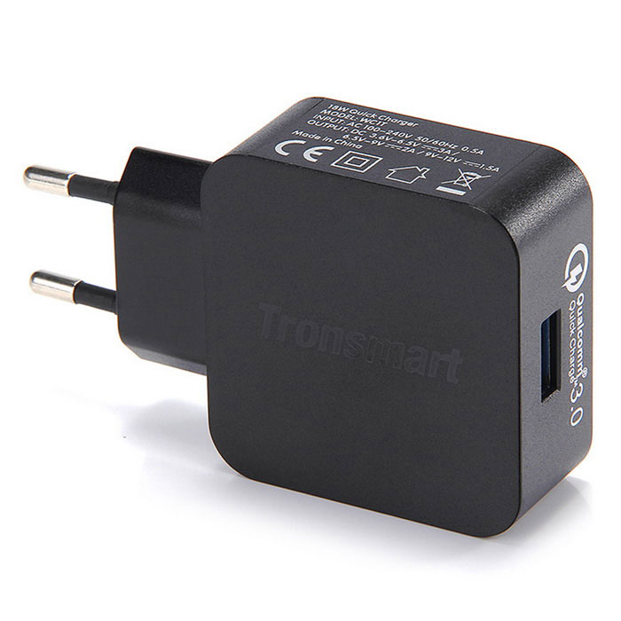 Tronsmart WC1T Quick Charge 3.0 USB Fast Wall Charger - Black EU Plug