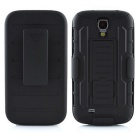 Heavy Duty Rugged Armor Hybrid Stand Hard Case w/ Belt Clip for Samsung Galaxy S4 i9500 - Black