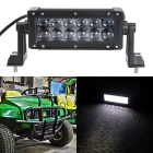 60W 12-LED White Light 6000K 6000lm UTV Car Lamp Spotlight Work Light Bar w/ Lens - Black