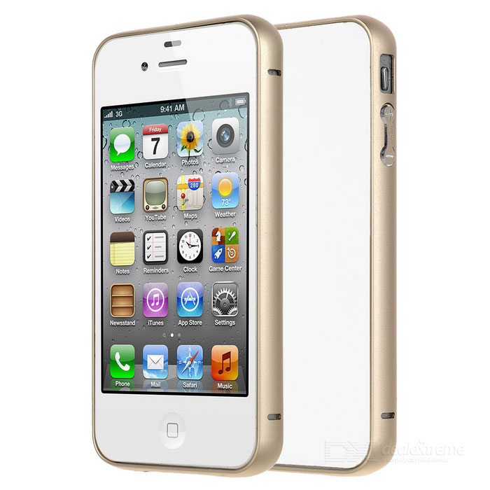 Durable Protective Aluminum Alloy Bumper Frame Case for IPHONE 4 / 4S - GoldenMetal Cases<br>Form ColorGoldenQuantity1 DX.PCM.Model.AttributeModel.UnitMaterialAluminium alloyCompatible ModelsIPHONE 4,IPHONE 4SStyleBumper CasesPacking List1 x Bumper case<br>