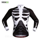 WOSAWE BC273-2XL Spring / Autumn Long-Sleeve Cycling Jersey - Black + White (XXL)