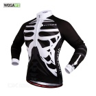 WOSAWE BC273-0XL Spring / Autumn Long-Sleeve Cycling Jersey - Black + White (XL)