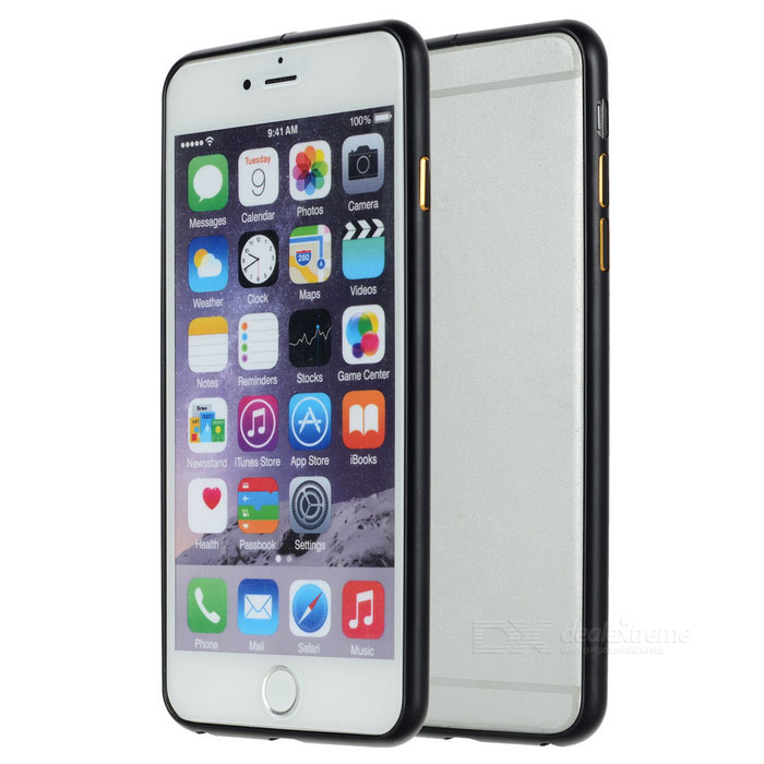 Ultra-Slim alumiiniseoksesta Puskurin Frame Case for iPhone 6 PLUS / 6S PLUS-Musta