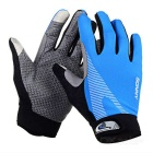 SW5012 Outdoor Cycling Anti-Slip Full-Finger Touch Screen Gloves - Blue + Grey (M / Pair)