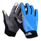 SW5012 Outdoor Cycling Anti-Slip Full-Finger Touch Screen Gloves - Blue + Grey (L / Pair)