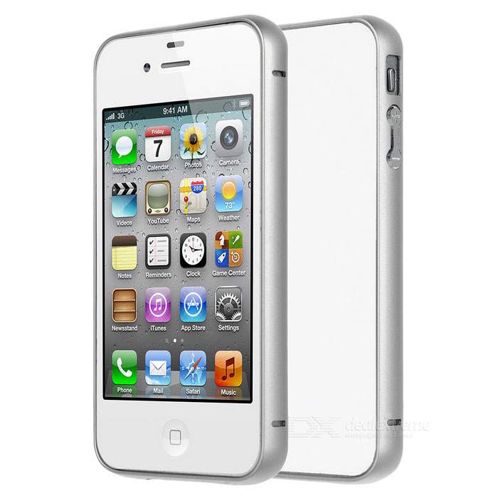 Case Frame de protection en alliage d'aluminium Bumper Durable pour iPhone 4 / 4S - Argent