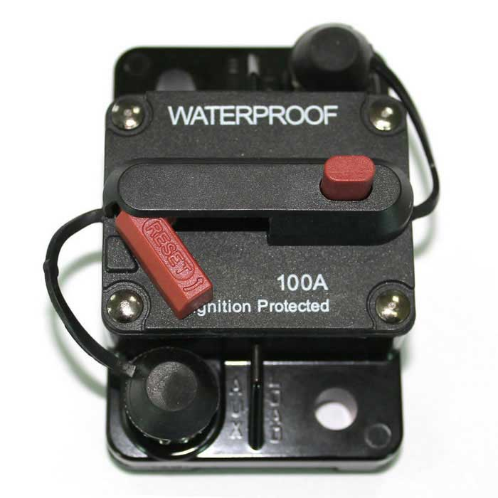 IZTOSS F433-100A 100A DC48V Waterproof Manual Reset Car Boat Circuit Breaker w/ Switch - BlackOther Gadgets<br>Form  ColorBlack - 100AModelF433-100AQuantity1 DX.PCM.Model.AttributeModel.UnitMaterialThermoplastic elastic insulating coverShade Of ColorBlackCurrent100 DX.PCM.Model.AttributeModel.UnitCertificationS.A.E. J1625, J1171, UL1500Other FeaturesInterrupt Capacity: 3000A @ 48V DC<br>Housing is thermoplastic<br>Temperature: -32°C to 82 °C (-25°F to 180 °F)<br>Storage Temperature: -34°C to 149 °C (-30°F to 300 °F)<br>Stud Size: ?-28Packing List1 x Circuit Breaker<br>