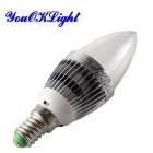 YouOKLight YK0322 E14 3W RGB Light Remote Control Candle Bulb - Silver White (110~120V)