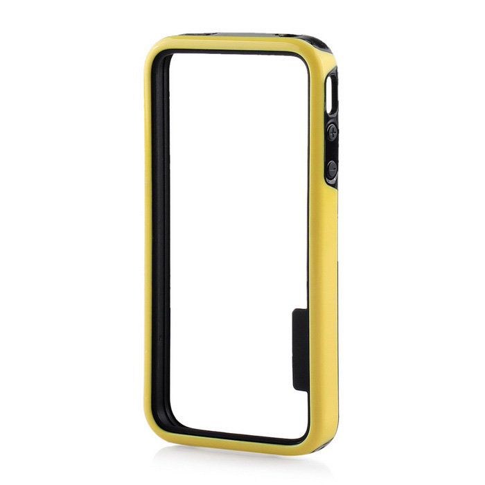 Stylish Protective TPU Bumper Frame for IPHONE 4 / 4S - Black + Yellow