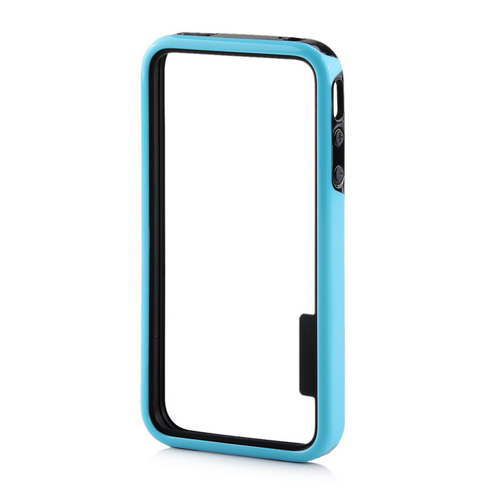 Stylish Protective TPU Bumper Frame for IPHONE 4 / 4S - Black + Blue