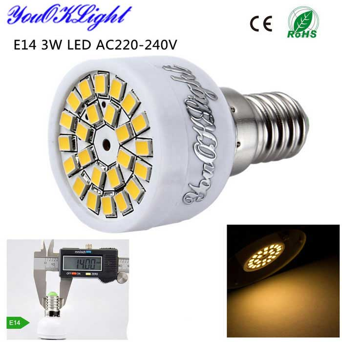 YouOKLight E14 3W LED Spotlight Bulb Warm White 3000K 280lm 24-SMD 2835 - White (AC 220~240V)