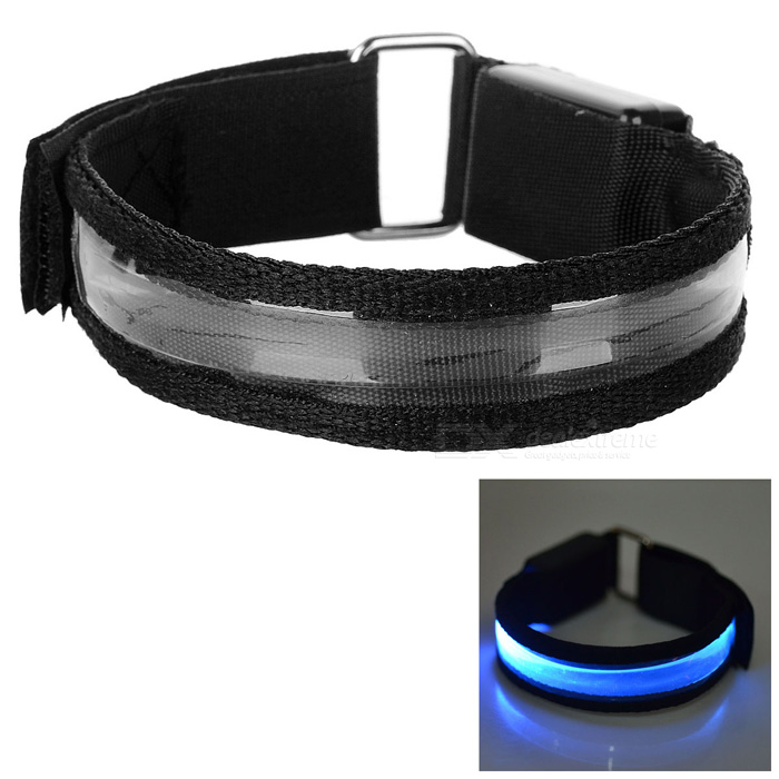Outdoor Sports Blue Light 3-Mode LED Flashing Safety Armband - Black (2*CR2032)