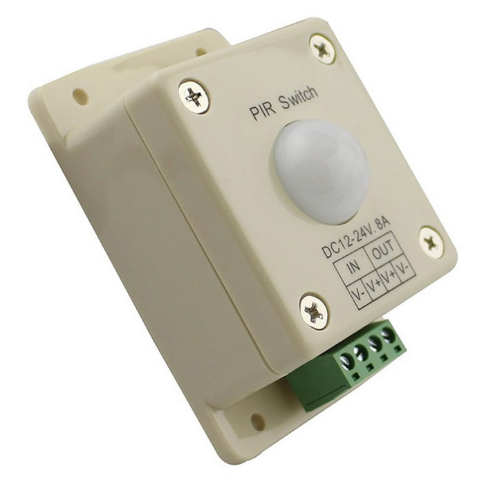 Cwxuan 12-24V 8A 200W PIR Sensor LED Menneskelig infrarød sensor Switch Motion Timer - Light Yellow