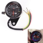 IZTOSS Universal Motorcycle Black Tachometer Odometer Gauge w/ LED Backlight - Black