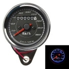 IZTOSS Motorcycle Vintage Odometer Speedometer Gauge Meter w/ Dual Color LED Back Light - Black