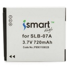 ismartdigi 07A 3.7V 720mAh Camera Battery for Samsung ST45, ST50, ST500, ST550, ST600, PL150 - White