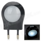 Mini 0.6W Low Power White Light Wall Night Lamp - Black (2-Round-Pin Plug / 220~240V)