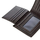 Stylish Genuine Leather Folded Wallet Purse for Men - Coffee