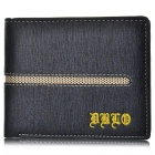 Stylish Genuine Leather Folded Wallet Purse for Men - Blue