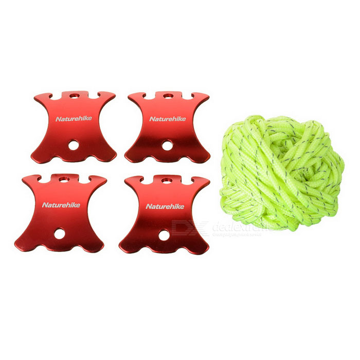 NatureHike Outdoor Camping Tent 12m Wind Rope +  Guy Line Runners Fasteners Tensioner Set - Red
